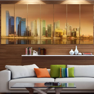 Designart Singapore Skyline Under Brown Sky Cityscape Canvas Art Print - 5 Panels