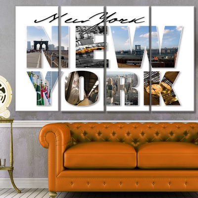 New York City Graphic Montage Cityscape Canvas ArtPrint - 4 Panels