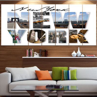 Designart New York City Graphic Montage CityscapeCanvas Art Print - 5 Panels