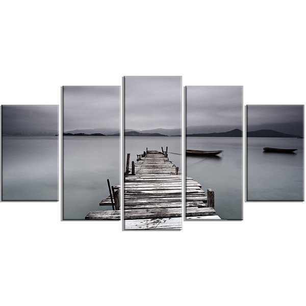 Designart Pier And Boats At Seashore Bridge LargeCanvas Art Print - 5 Panels