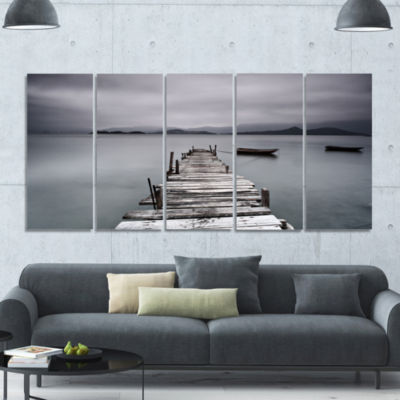 Pier And Boats At Seashore Bridge Canvas Art Print- 5 Panels