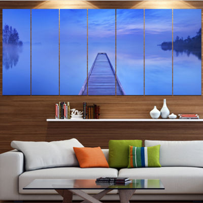 Designart Jetty At Blue Dawn Panorama Bridge Canvas Art Print - 4 Panels