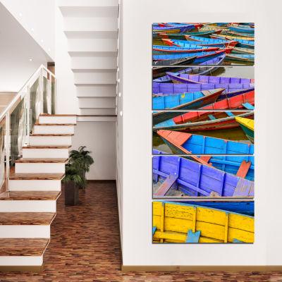 Designart Old Colorful Sail Boats In The Lake BoatCanvas Art Print  - 5 Panels