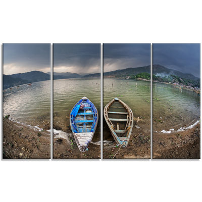 Designart Two Boats Near Pokhara Lake Boat CanvasArt Print- 4 Panels
