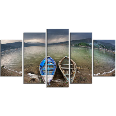 Designart Two Boats Near Pokhara Lake Boat LargeCanvas Art Print - 5 Panels