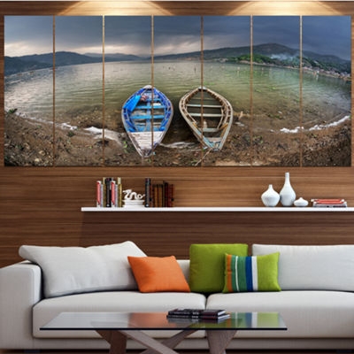 Designart Two Boats Near Pokhara Lake Boat CanvasArt Print- 6 Panels