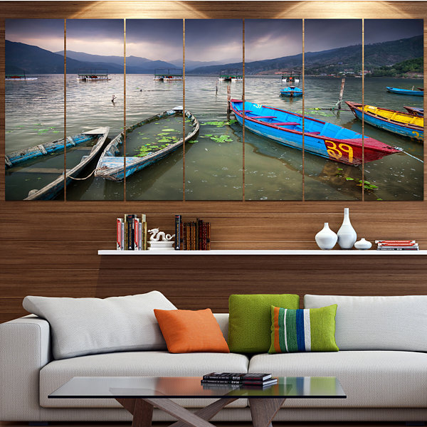 Designart Boats Near Pokhara Lake Boat Canvas ArtPrint - 4 Panels