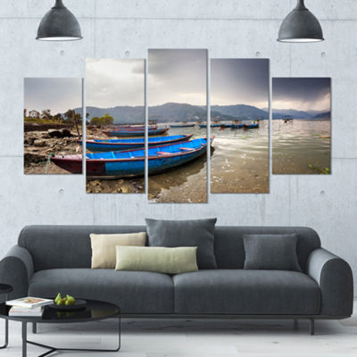 Designart Blue Boats In Pokhara Lake Boat Large Canvas Art Print - 5 Panels