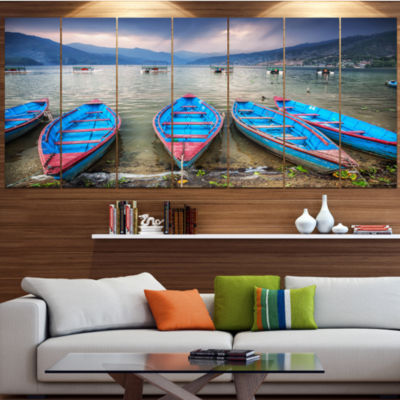 Designart Row Of Blue Boats In Pokhara Lake BoatCanvas Art Print - 5 Panels
