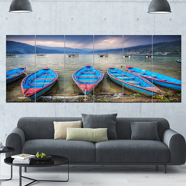 Designart Row Of Blue Boats In Pokhara Lake BoatCanvas Art Print - 6 Panels