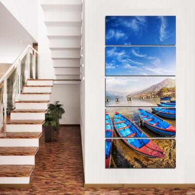 Designart Blue Boats Under Blue Sky Boat Canvas Art Print  -5 Panels