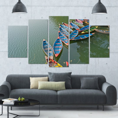 Designart Phewa Lake In Pokhara Nepal Boat LargeCanvas Art Print - 5 Panels