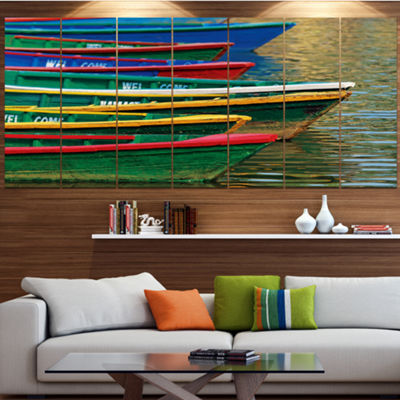 Designart Color Boats On Phewa Lake Nepal Boat Large Canvas Art Print - 5 Panels