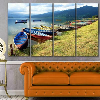 Designart Color Boats In Phewa Lake Boat Canvas Art Print -4 Panels
