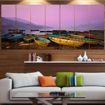 Designart Boats Under Twilight Sky In Phewa BoatLarge Canvas Art Print - 5 Panels
