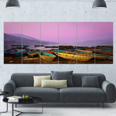 Boats Under Twilight Sky In Phewa Boat Canvas ArtPrint - 6 Panels
