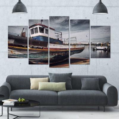 Designart Old Fishing Boat Boat Canvas Art Print-4 Panels