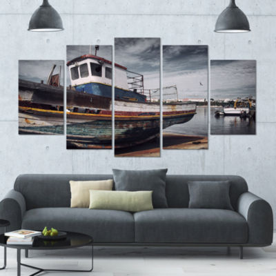 Old Fishing Boat Boat Canvas Art Print - 5 Panels