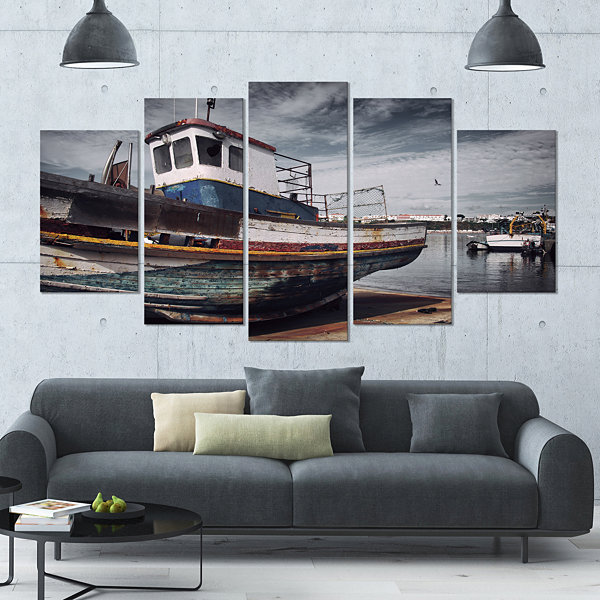 Designart Old Fishing Boat Boat Canvas Art Print-5 Panels
