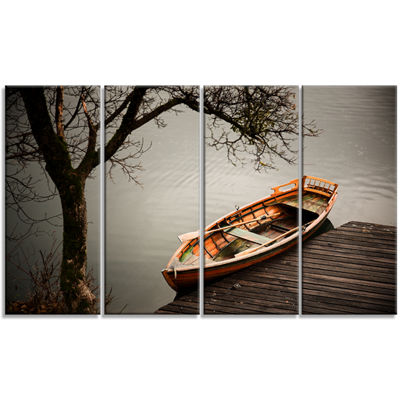 Designart Little Rowing Boat Ferry Boat Canvas ArtPrint - 4Panels