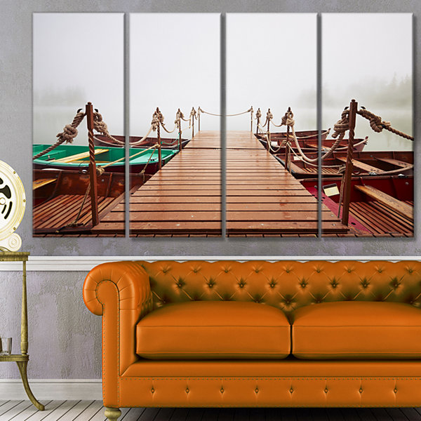 Designart Boats In Mysterious Fog Boat Canvas ArtPrint - 4 Panels
