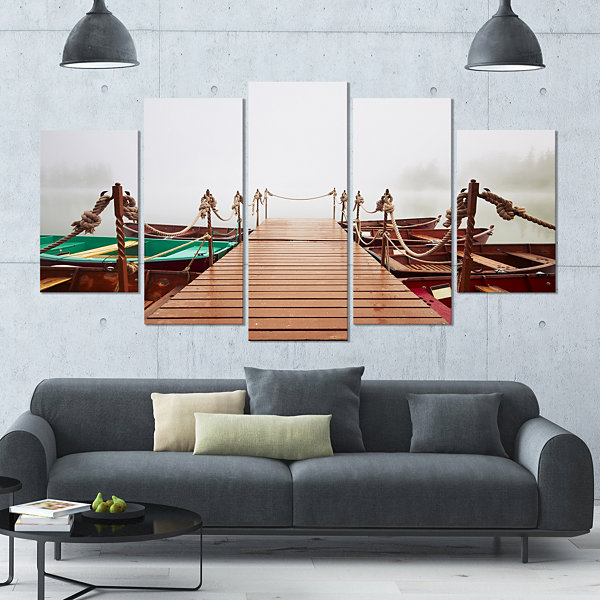 Designart Boats In Mysterious Fog Boat Large Canvas Art Print - 5 Panels