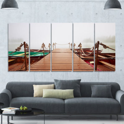 Boats In Mysterious Fog Boat Canvas Art Print - 5Panels