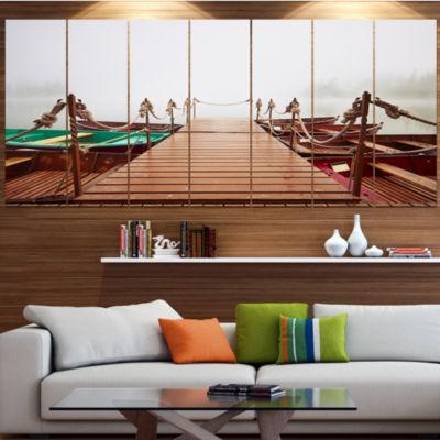 Designart Boats In Mysterious Fog Boat Canvas ArtPrint - 6 Panels