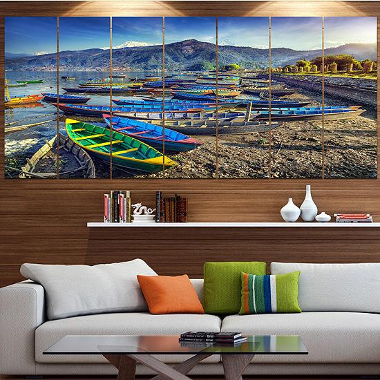 Designart Colorful Boats In Pokhara Lake Boat Large Canvas Art Print - 5 Panels