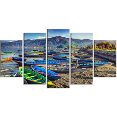 Designart Colorful Boats In Pokhara Lake Boat Large Canvas Art Print - 5 Panels