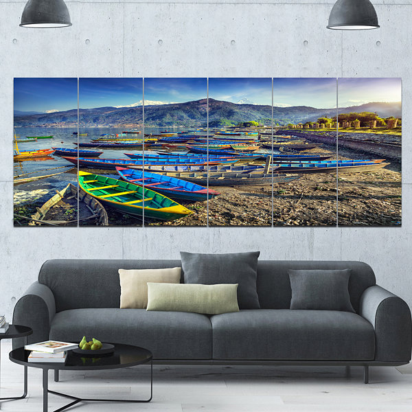 Design Art Colorful Boats In Pokhara Lake Boat Canvas Art Print - 6 Panels