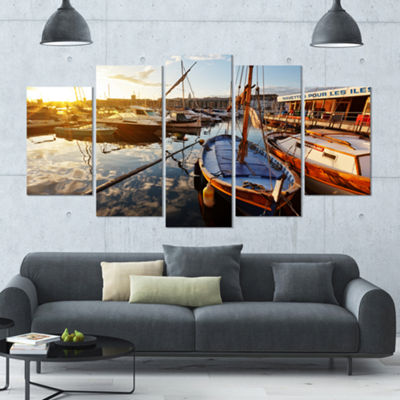 Designart Yachts At Sea Port Of Marseille Boat Large Canvas Art Print - 5 Panels