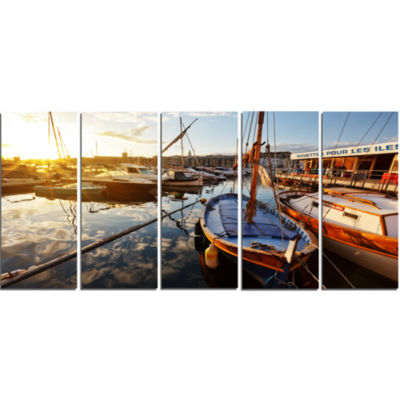 Yachts At Sea Port Of Marseille Boat Canvas Art Print - 5 Panels