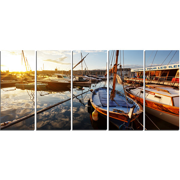 Designart Yachts At Sea Port Of Marseille Boat Canvas Art Print - 5 Panels