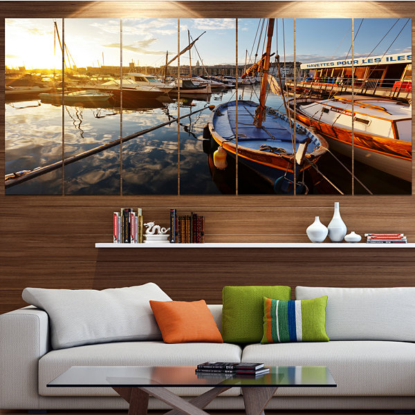 Design Art Yachts At Sea Port Of Marseille Boat Canvas Art Print - 7 Panels