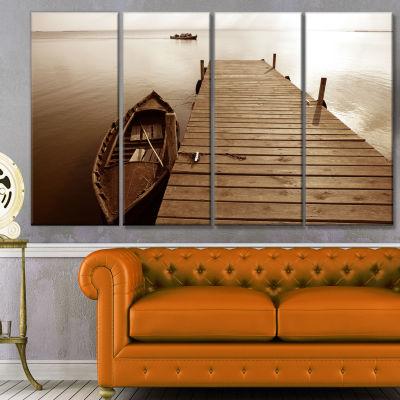 Designart Albufera Lake Wetlands Pier Boat CanvasArt Print- 4 Panels