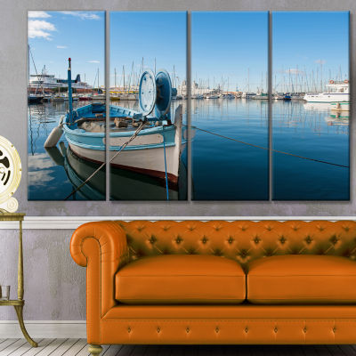 Designart Yachts In Toulon Port France Boat CanvasArt Print- 4 Panels