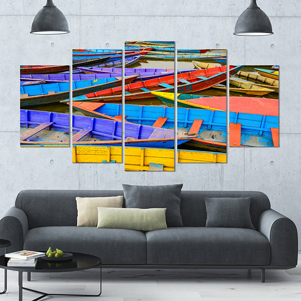 Design Art Old Colorful Sailboats In Lake Boat Canvas Art Print - 4 Panels