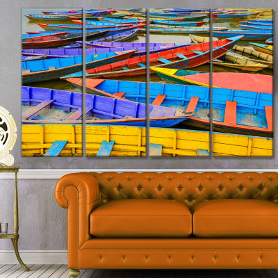 Old Colorful Sailboats In Lake Boat Canvas Art Print - 4 Panels