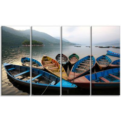 Designart Beautiful Boats In Phewa Lake Boat Canvas Art Print - 4 Panels