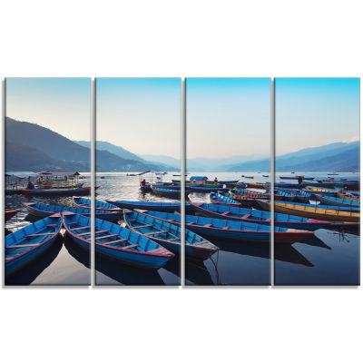 Blue Wooden Boats In Lake Boat Canvas Art Print -4 Panels