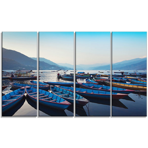 Design Art Blue Wooden Boats In Lake Boat Canvas Art Print -4 Panels