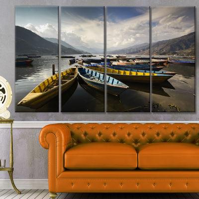 Designart Pokhara Lakeside Boats Boat Canvas ArtPrint - 4 Panels