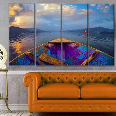 Designart Boat In Himalaya Mountains Lake Boat Canvas Art Print - 4 Panels