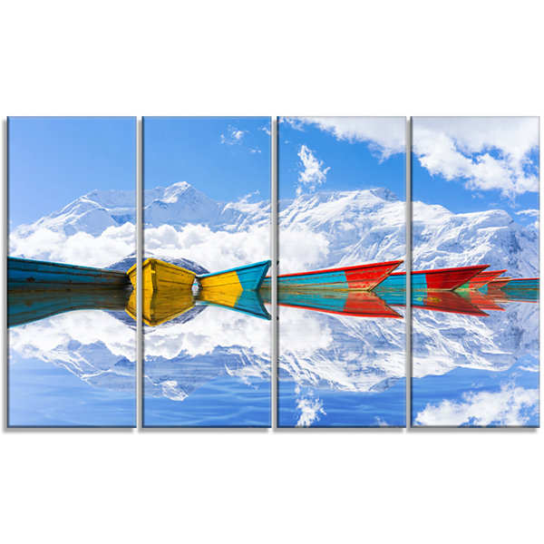 Designart Moving Colorful Boats In Lake Boat Canvas Art Print - 4 Panels