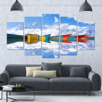 Designart Moving Colorful Boats In Lake Boat Canvas Art Print - 5 Panels