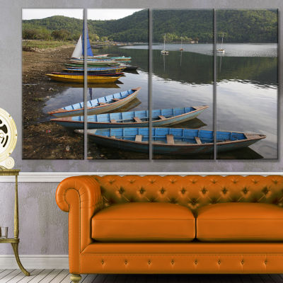 Designart Wonderful View Of Pokhara Boats Boat Canvas Art Print - 4 Panels
