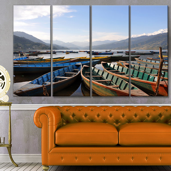 Designart Colorful Boats Pokhara Lake Boat CanvasArt Print- 4 Panels