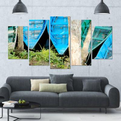 Blue Boats On Lake Phewa Boat Canvas Art Print - 5Panels