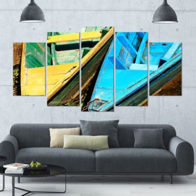 Designart Wooden Boats On Lake Phewa Boat CanvasArt Print -4 Panels